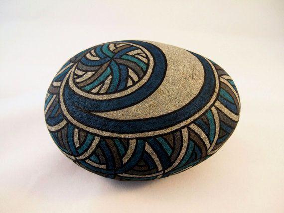 Arte unica 3D Art Avant Garde opera Rad verniciato roccia blu