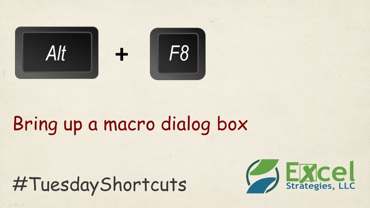 ALT + F8 -- Bring up a VBA Macro dialog box in @MSExcel.   #TuesdayShortcuts #Excel #ExcelShortcuts #Shortcuts #ExcelTips #ExcelTricks #Tips #Tricks #VBA #Macros