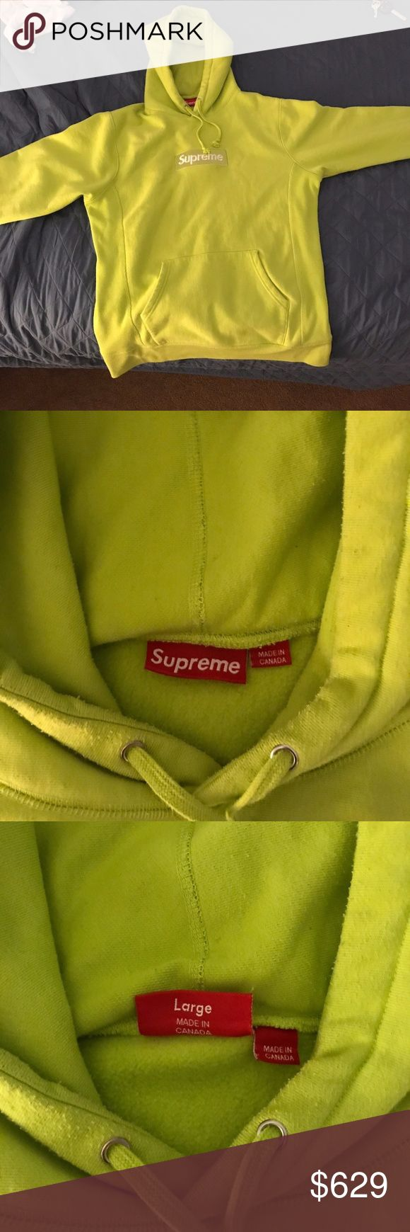 Supreme Box Logo Acid Green Hoodie Large Unworn Supreme Box Logo 100% Authentic Acid Green Hoodie. Selling because size was too small. Was bought at 799.99 Supreme Sweaters
