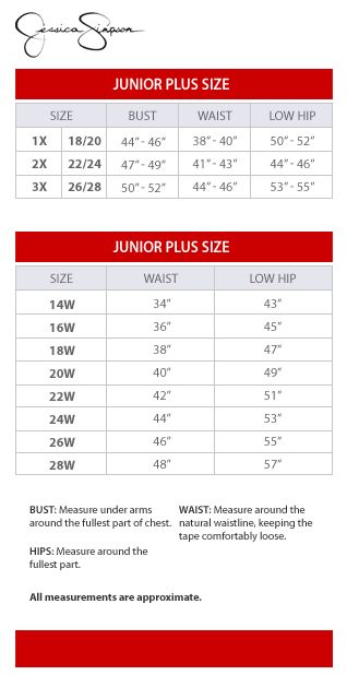 Jessica simpson junior plus size chart via macys brand name plus