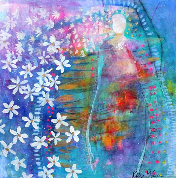 "Large Abstract Figure Painting Angel Modern Icon Abstract Floral, ""Our Lady of the Perpetual Daisy Chain"" 24x24"" by Kerri Blackman"