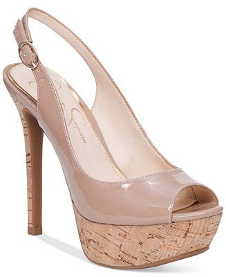 Jessica Simpson Tacey Peep-Toe Slingback Platform Pumps - Jessica Simpson - Shoes - Macy's