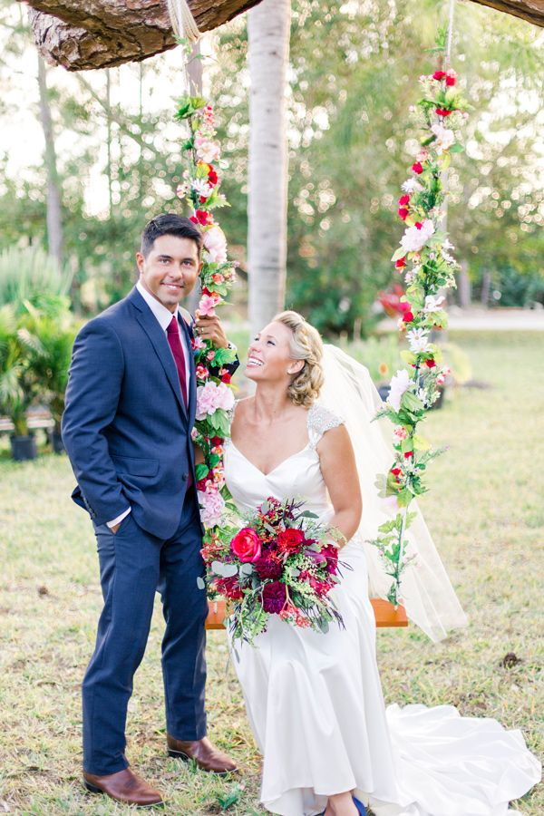 backyard Florida wedding with cobalt bridesmaid dresses - photo by L Martin Wedding Photography http://ruffledblog.com/backyard-florida-wedding-with-cobalt-bridesmaid-dresses #weddingideas #flowerswing