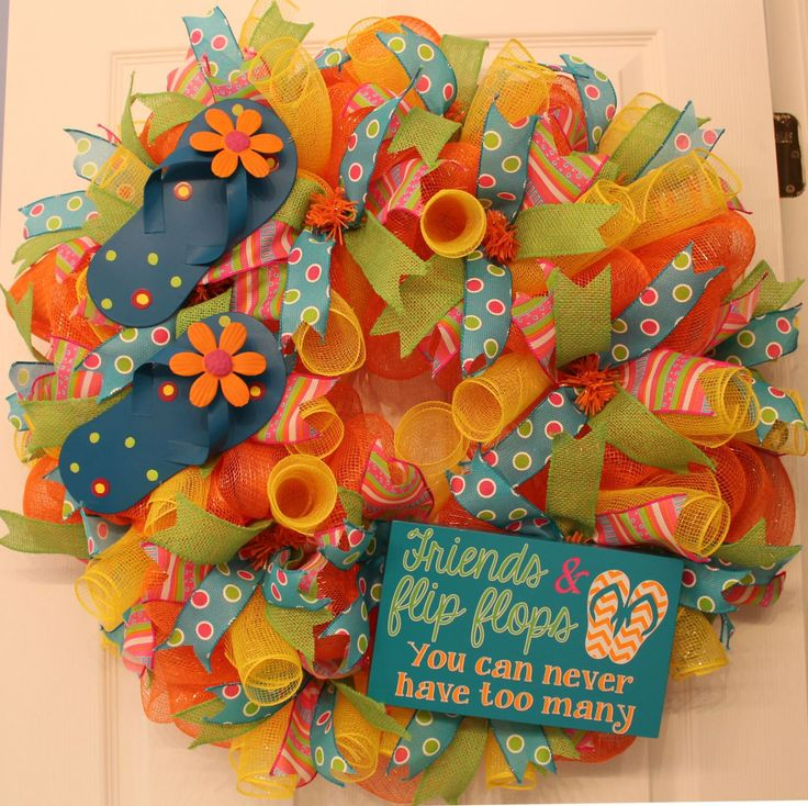 DIY Flip Flop Mesh Summer Wreath