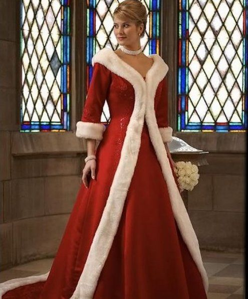 In case you are marrying Santa Claus (or just want to look like him), this dress from Star Bridal Apparel for $266 really does evoke the spirit of St. Nicholas.