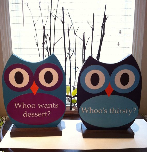 Set of two Owl Table Signs great for weddings and by TheWoodenOwl, $48.00
