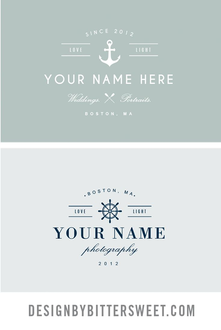 Nautical logo design. Pre-made photographer logo template. High-end photography logo design. Wedding photographer logos.