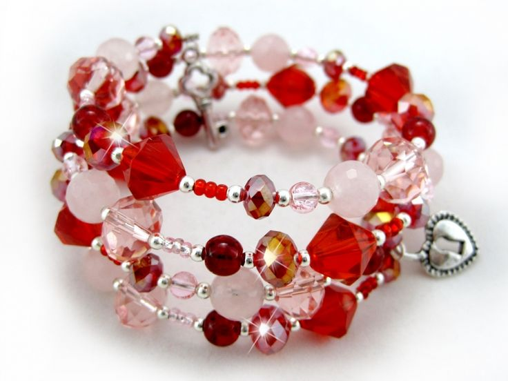 valentine swirl bracelet 1900 ladies beaded swarovski crystal bracelet red and pink crackled glass - Valentines Day Bracelet