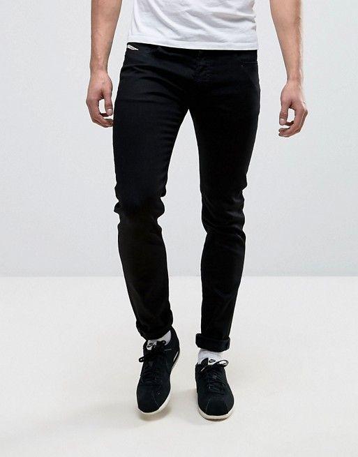 9326e3a8 Diesel Sleenker skinny fit jeans in 0886Z black | asos men | Diesel ...