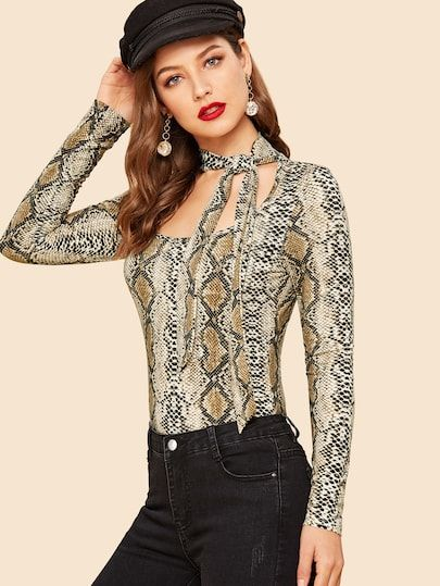 d57f154533e Tie Neck Cut Out Snakeskin Print Tee in 2019 | Styles We Love ...