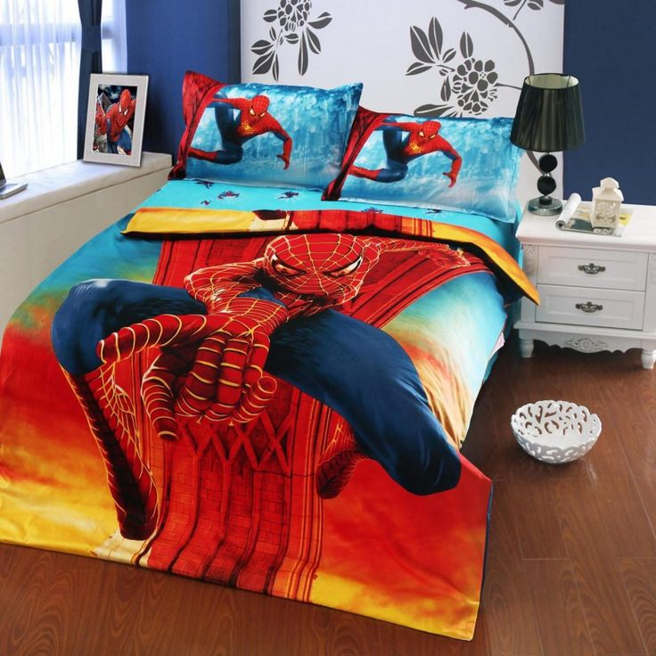 interior bedroom spiderman bedding set combined white wooden side cabinet and black table lamp twin bed comforters