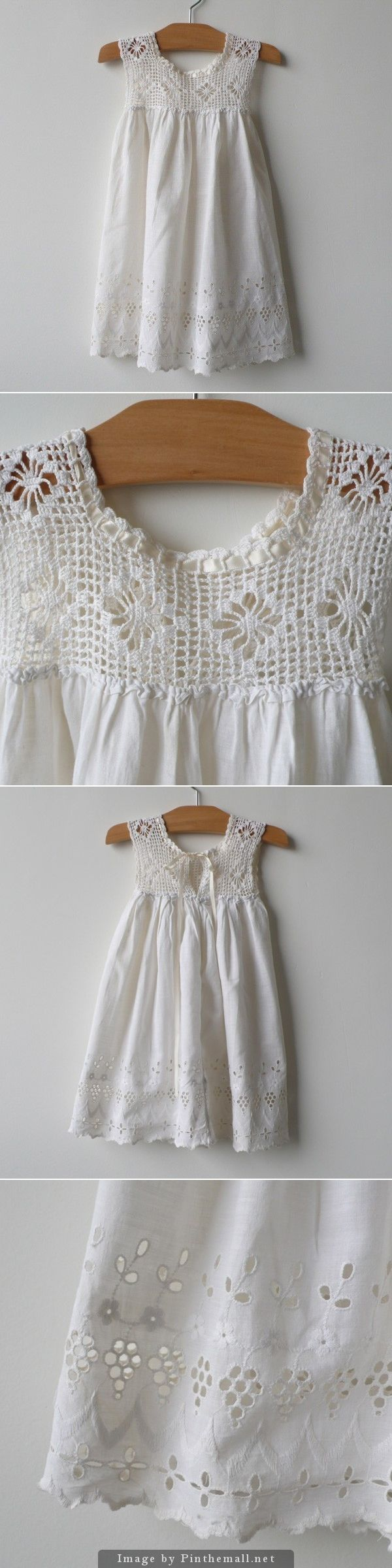 Exquisite. Crochet c. 1925. Soft cotton slip dress with crocheted bodice (filet crochet spider lace) and lovely eyelet hemline (broderie anglaise skirt). An ivory ribbon runs through neckline and ties in back above 1 snap. ~~ http://www.belleheir.com/shop/two/crochet-c-1925