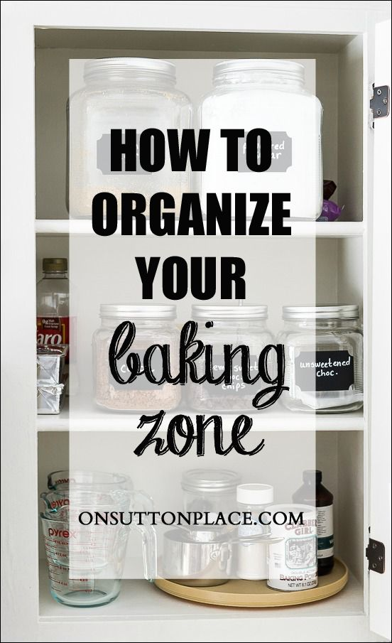 Tips for baking zone #organization that are easy and fast! Shows before and after. You won't believe the difference!