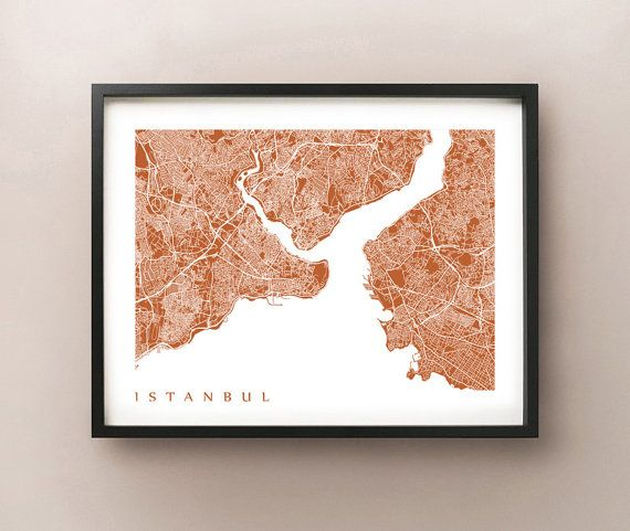 Istanbul Map Print by CartoCreative on Etsy - We were in the Istanbul airport this summer, someday I will go back and explore the beautiful city.