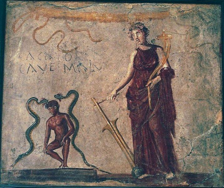 affresco (foto) nei bagni pubblici di Pompei, che invita il cacator a fare attenzione ai pericoli.