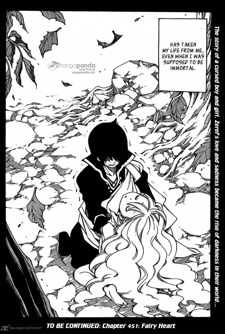 Fairy tail ch. 450 pg. 20 Zeref loves Mavis and, when he kisses her, she dies because of the ankhseram!