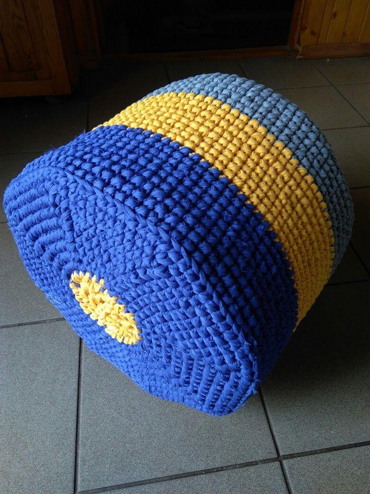 Pufa na szydełku z T-shirt yarn  #crochet #pouf #yarn #lovelycottons #szydełko #szydelkowanie #tshirtyarn