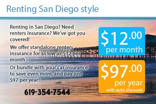 Are you renting a house, studio, or apartment in San Diego or Southern California? If so, consider getting renters insurance. For $12 per month we can cover your belongings in the event of a fire.    This even includes 10% coverage for belongings away from home, for those who like to Travel.    Give us a call, 619-354-7544. Ask for Andrew!