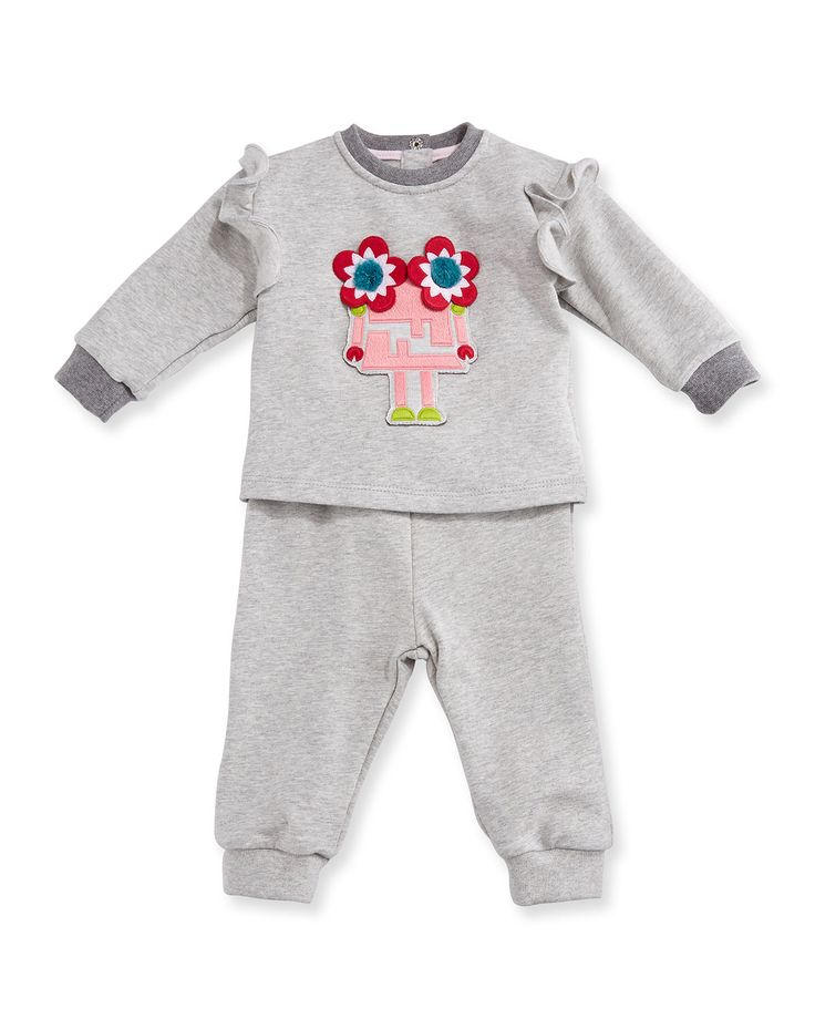 Floral Monster Track Suit, Gray, Size 12-24 Months