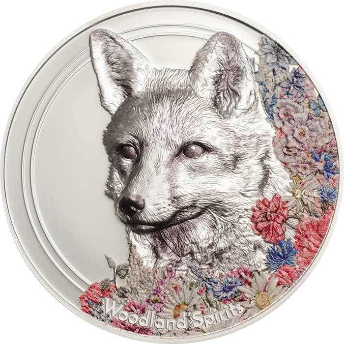 2018 Mongolia 1 Ounce Woodland Spirits Fox High Relief Colored Silver Coin