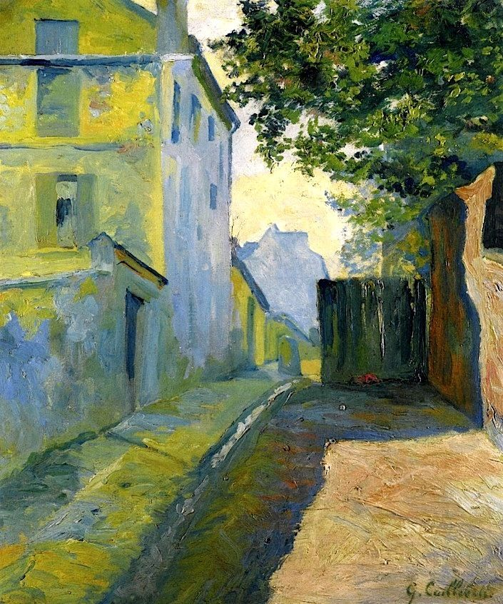 Space. Art. (Montmartre Gustave Caillebotte) The artist created space in the drawing by creating depth.