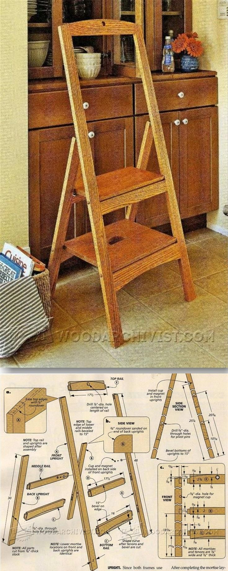 Folding Step Stool Plans - Furniture Plans and Projects | WoodArchivist.com & 12 best Build a step stool images on Pinterest | Step stools ... islam-shia.org