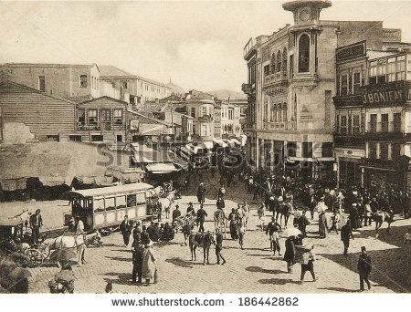 ISTANBUL, TURKEY - CIRCA 1900's :Cityscape in old Istanbul, Bosphorus Strait and Asian
