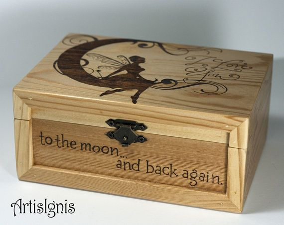 Wooden Jewelry Box I Love You to the Moon & Back by ArtisIgnis