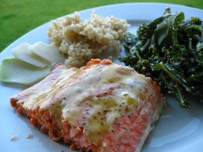 Maple dijon glazed salmon. Healing omega 3s to soothe the gut. Gluten free naturally. Clear focus nutrition.
