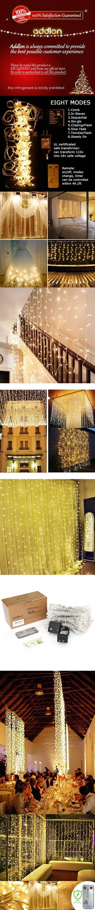 Christmas Curtain Icicle Led lights, Addlon 9.8×9.8ft 300 Led 8 modes with Remote fairy Christmas lights, UL Warm White string fairy String Wedding lights for Home, Party, Outdoor, Wedding Backdrops