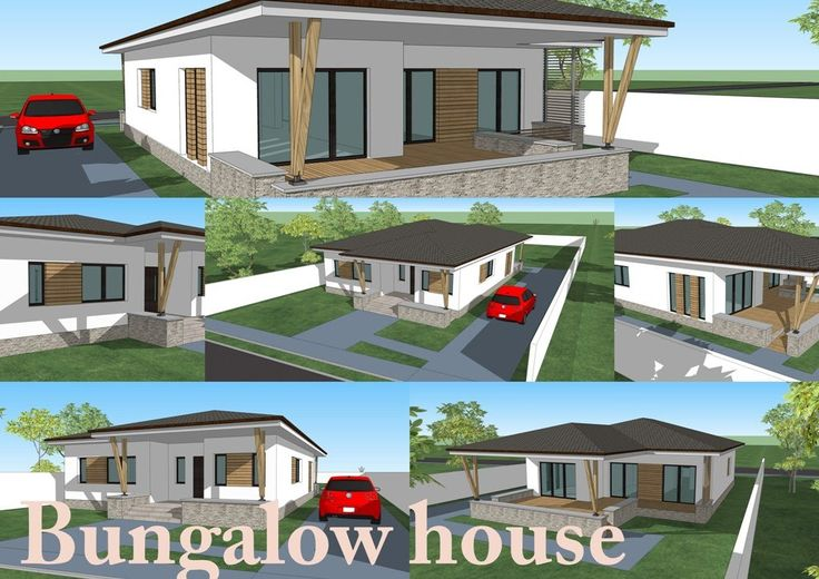 Bungalow design house with 3 bedroom. 150 square meters. Romanian Architect