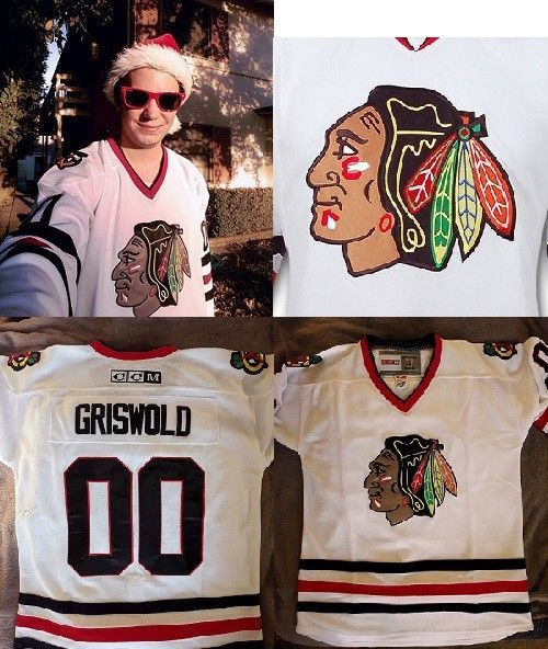 c1b9fa061 Christmas Vacation 00 Clark Griswold Movie CCM Hockey Jersey Chicago  Blackhawks (eBay Link). Find this Pin and more ...