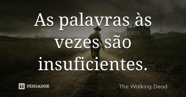 As palavras às vezes são insuficientes.... Frase de The Walking Dead.
