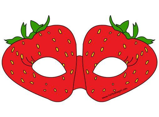 Maschere frutta da ritagliare - Fragola - TuttoDisegni.com