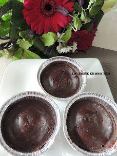 Gâteau chocolat au Cookéo 1er essai sucré dans ce robot. Mes gars les ont trouvés super bons. La recette est donnée pour 4 pots, je n'a...