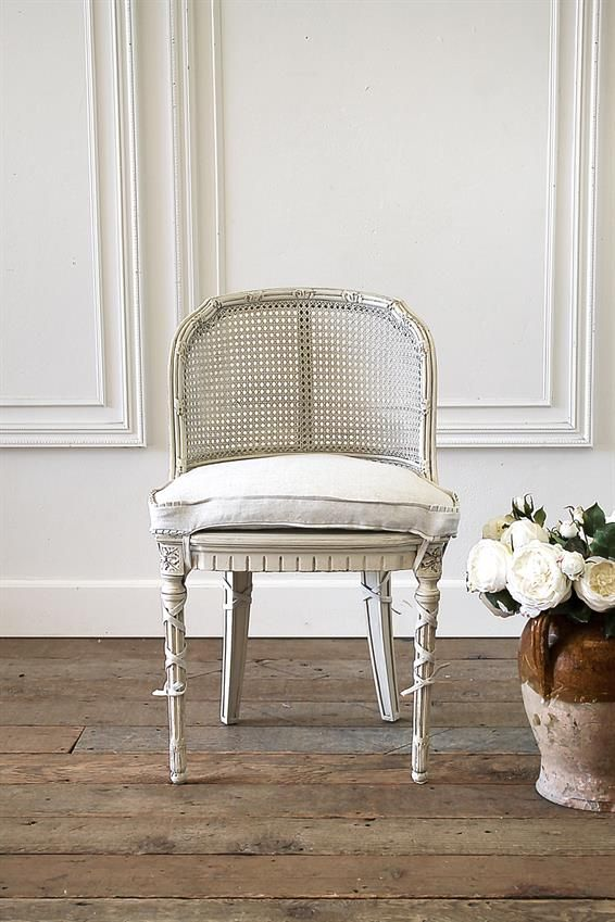 French Country Cane Back Vanity Chair From Full Bloom Cottage French Inspired Furniture Side Chairs Living Room Deco Chairs