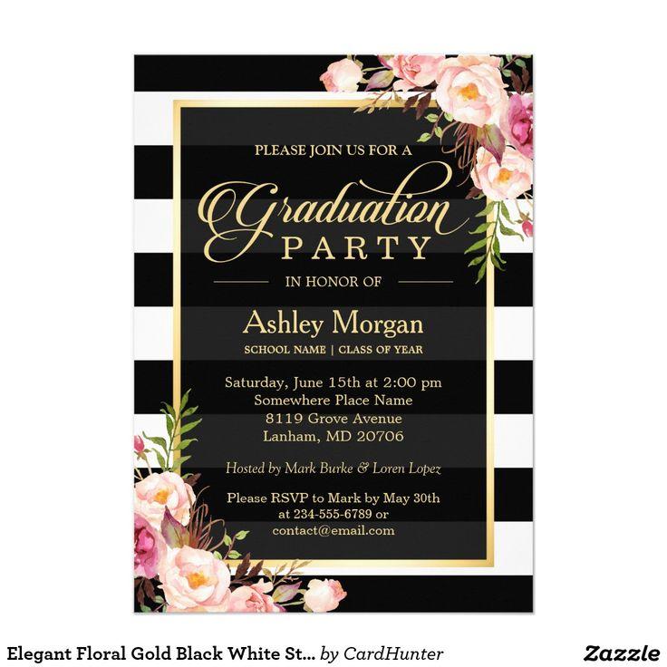 56 best graduation invitations galore images on pinterest grad elegant floral gold black white stripes graduation card zazzle invitationsshower filmwisefo Images