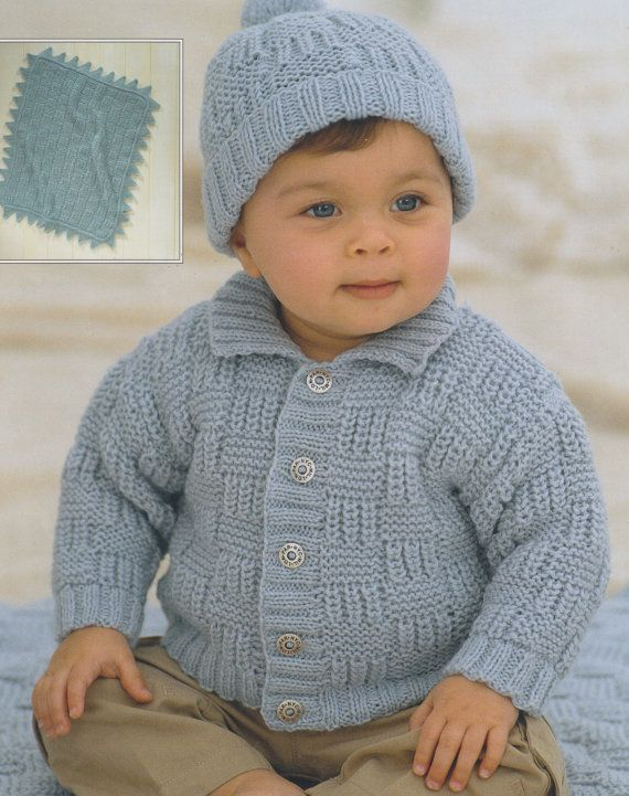This item is a PDF file of the knitting pattern for a lovely check cardigan, hat and blanket.  The pattern will be available for download upon receipt of payment, for you to print out or read from your computer.  Traditional and beautiful, knit with double knitting yarn. In sizes from birth to six years.