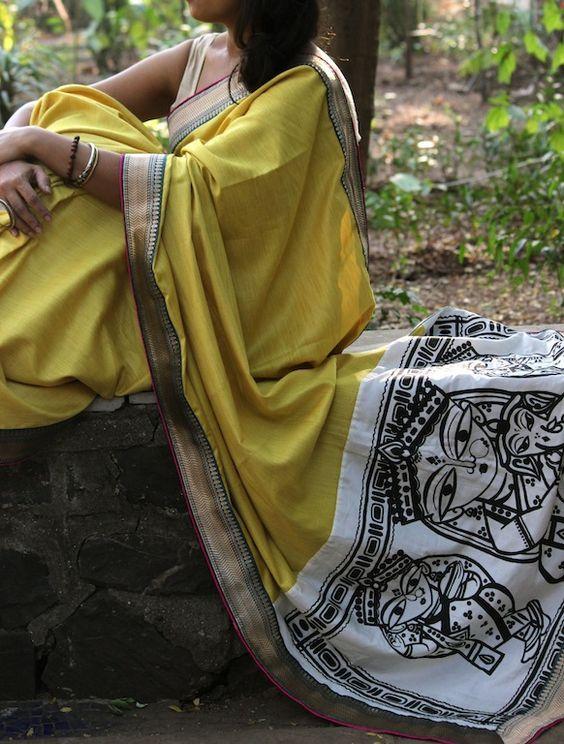 OnuOru » Yellow Handpainted Muga Silk Saree JR05: