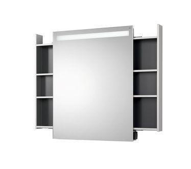 monolith Illuminated mirror cabinet monolith, tray left and right, IP 44 aluminium/mirror