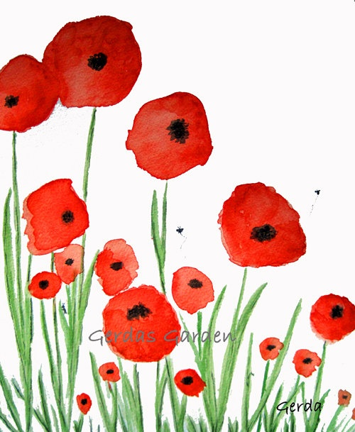 $10.00 Poppies Rememberance print 5x7 watercolor reproduction #etsy #buyhandmade #veterans