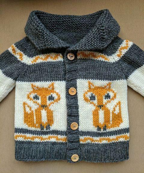 Fox Sweater Cowichan Style Sweater Knit Children's