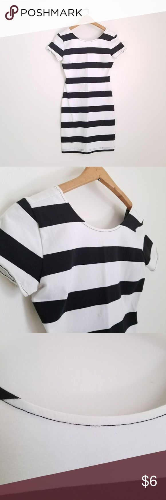 [Forever 21] Striped Bodycon Dress Forever 21 - Size S  Black and white stripe bodycon dress. Low scoop back. Slight fading of the white around edges (see picture 3). Forever 21 Dresses Midi