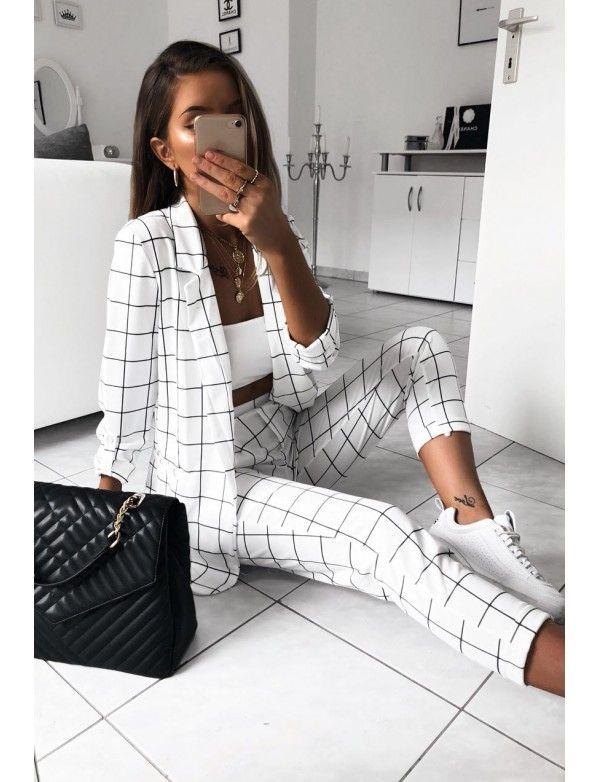pantalon + veste à carreaux noir
