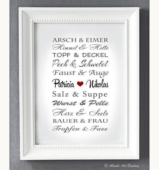 Liebevoll designter Kunstdruck in **DIN A4 Format** auf hochwertigem Künstler-Strukturpapier z.B als Geschenk zur Hochzeit, zum Hochzeitstag, zur Verlobung, zum Jahrestag, Valentinstag, etc
