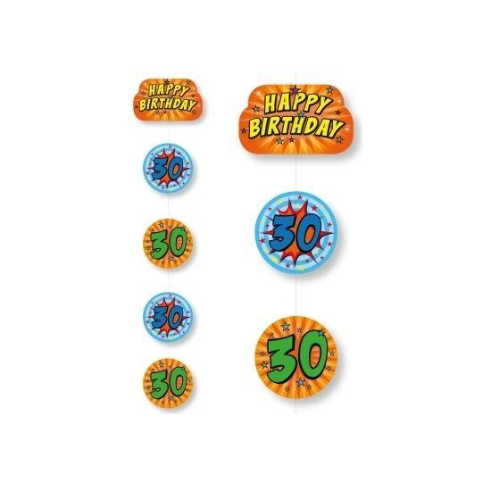 Hangslingers 30 jaar. Hangdecoratie met het getal 30. Kleur: blauw & oranje. De afmetingen van de rondjes zijn 18 x 18 cm, het happy birthday opdruk is 25 x 17 cm.
