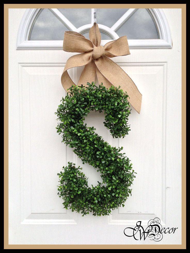 Monogram Wreath - Wreaths - Spring Wreath Door - Arificial Boxwood Wreath - Burlap Ribbon - Initial Door Wreath. $79.00, via Etsy.