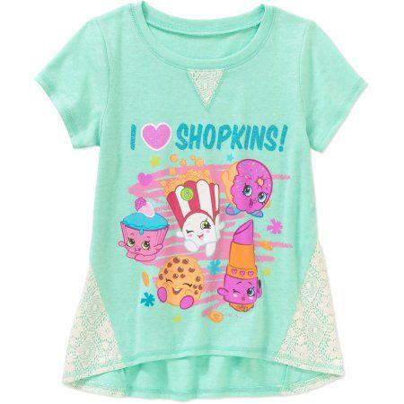 Shopkins Girls' I Heart Shopkins Crochet Panel Graphic Top, Size: XS, Blue