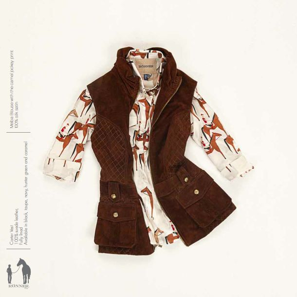 Carter leather vest and silk blouse