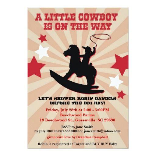 Little Cowboy Baby Shower Invite, Rocking Horse 5x7 Paper Invitation Card